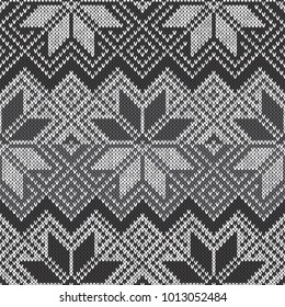 Camouflage Style Knitted Pattern. Seamless Knitting Texture with Shades of Gray Colors