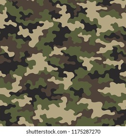 Camouflage texture seamless pattern. Abstract modern military and hunting textile print background. Vector illustration.