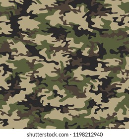 Camouflage texture seamless pattern. Abstract modern military camo fashion background. Vector illustration.