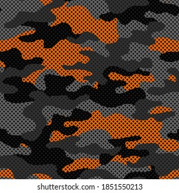 Camouflage texture seamless pattern with grid. Abstract modern endless military bacnground for fabric and fashion textile print. Vector illustration.