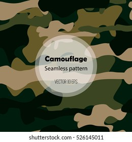 Camouflage texture. Seamless pattern in swatch. Fabric repeating background, easy to edit. Dark brown,green,olive wood colors.Military print.Fashion and trendy textile style. Vector illustration 10eps