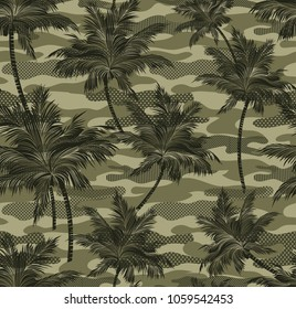 Camouflage tropical palm trees Background Seamless