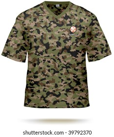 Camouflage T-shirt design template with sample print design. Vector, lot of details, contains gradient mesh.