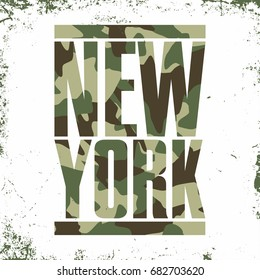 Camouflage typography for t-shirt print. New York, varsity, athletic t-shirt graphics. Vector