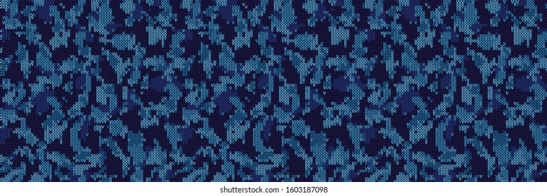 Camouflage vector classic blue marl heathered texture banner background. Faux cotton denim jeans style. Vector border pattern design. Camouflage gray melange space dye textile ribbon trim edge .