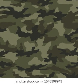 Camouflage vector seamless pattern on a green background. Stylish design.