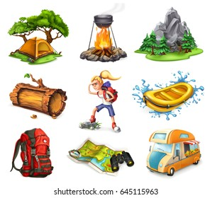 Camp and adventure, 3d vector icons set.