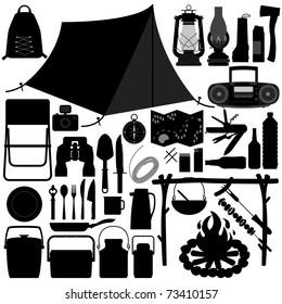 Camp Camping Picnic Recreational Jungle Survivor Tool Equipment Silhouette