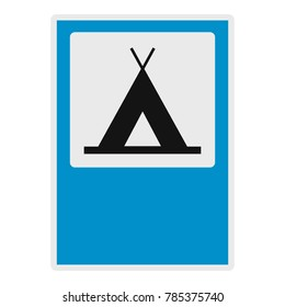 Camp fire tent icon. Flat illustration of camp fire tent vector icon for web.