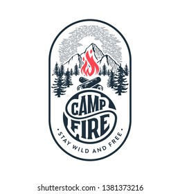 Camp logo with campfire. Stay wild and free. Vector illustration.