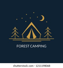 Camp logo. Forest camping emblem with tourist tent. Vector illustration.