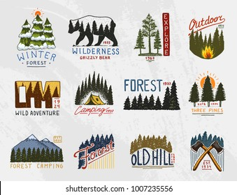 camp logo, mountains coniferous forest and wooden badges. engraved hand drawn in old vintage sketch. emblem tent tourist, travel for labels. outdoor adventure landscapes with pine trees and hills.