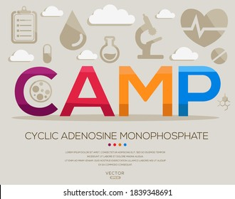 CAMP mean (cyclicadenosinemonophosphate) medical acronyms ,letters and icons ,Vector illustration.