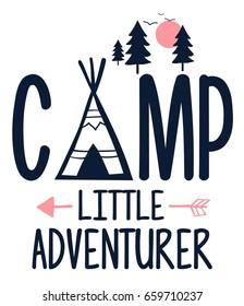 camp slogan illustration vector.