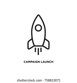 Campaign launch vector icon, rocket symbol. Modern, simple flat vector illustration for web site or mobile app