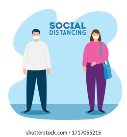 campaign of social distancing for covid 19 with couple using face mask vector illustration design