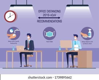 campagne de distanciation sociale au bureau pour la 19e séance avec dessin d'illustration vectorielle d'hommes d'affaires