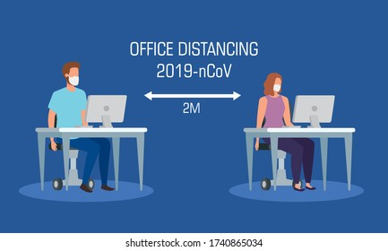 campagne de distanciation sociale au bureau pour la 19e personne avec illustration vectorielle du couple d' entreprises