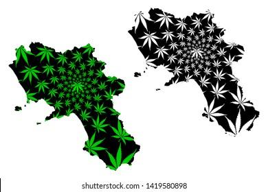 Campania (Autonomous region of Italy, Italian Republic) map is designed cannabis leaf green and black, Campania map made of marijuana (marihuana,THC) foliage,