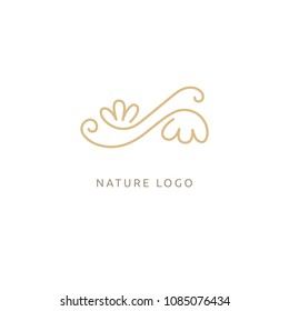 Campanula logo. Wedding floral icon. Luxury retro emblem. Cosmetics, Spa, Beauty salon, Decoration, Boutique vector logo. Royal Jewelry, Yoga, Premium Logo. Resort and Restaurant design illustration