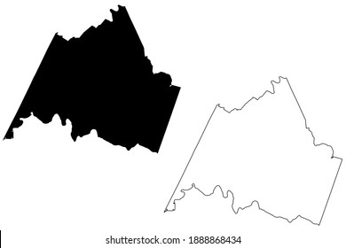 Campbell County, Commonwealth of Virginia (U.S. county, United States of America, USA, U.S., US) map vector illustration, scribble sketch Campbell map