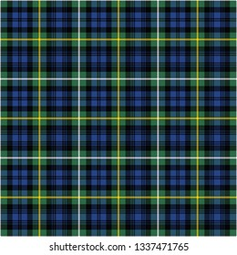 Campbell's ancient tartan. Seamless pattern of a traditional Scottish tartan of Campbell's clan for fabric, kilts, skirts, plaids. Frequent, small weaving.