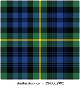 Campbell's Argyll ancient tartan. Element for the seamless construction of a pattern for a traditional Scottish tartan of Campbell's Argyll clan, seamless pattern for fabric, kilts, skirts, plaids