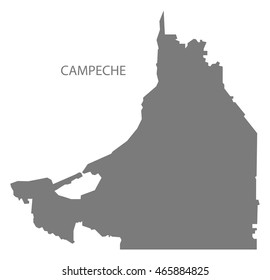 Campeche Mexico Map grey