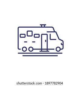 camper, camping van line icon