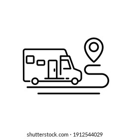 camper, camping van and route line icon