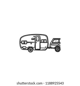 Camper and car hand drawn outline doodle icon. Caravan vacation and trip, travel trailer, recreation concept. Vector sketch illustration for print, web, mobile and infographics on white background.