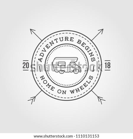 camper car logo design template home stock vector royalty free