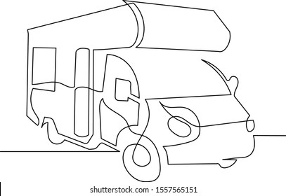 Camper continuous line drawing. The concept of moving in a motorhome, family camping, camping, caravan.