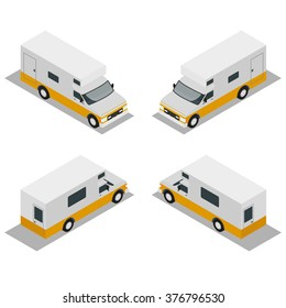 Camper isometric view of the rear and front. Kemper walking along the road in both directions.