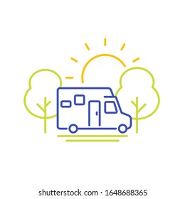 camper line icon, travel in camping van