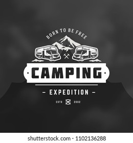 Camper logo design template vector illustration. Outdoor rv vehicle silhouette retro typography badge emblem.