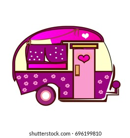 Camper on white bacground. Wall stickers