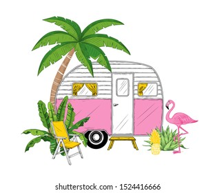 Camper, palm tree, banana leaves, pineapple, flamingo and armchair.  Vector illustration. Travel trailer on a background of exotic nature.