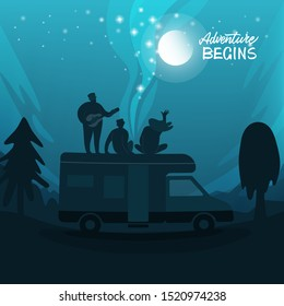 Camper and people on top under a starry sky. Bus camper and van life. Vector illustration.