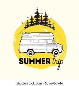 Camper trailer or campervan driving against spruce trees on background and summer trip inscription. Recreational vehicle for road journey or camping. Vector illustration for logo, advertising.