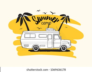 Camper trailer or campervan driving against exotic palm trees on background and Summer Camp inscription. Vehicle for tropics or jungle trip, tropical camping. Vector illustration for advertising.