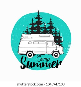 Camper trailer, campervan or recreational vehicle driving on road against spruce trees on background and camp summer inscription written with cursive font. Vector illustration for logo, advertising.