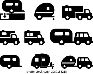 Camper Trailer Icons - Black Series