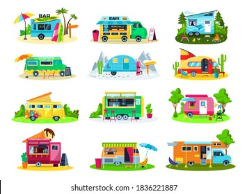 Camper trailers, travel house, camping vehicles icon set of vector illustrations. Trailers and hindcarriages for tourism and vacation, tourists vans, caravans and trucks. Recreation camp transport.