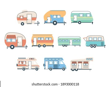 Camper trailers and vans icon group design of caravan trip camp adventure transportation and travel theme Vector illustration