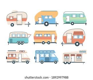Camper trailers and vans icon set design of caravan trip camp adventure transportation and travel theme Vector illustration