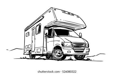 Camper Van black and white illustration