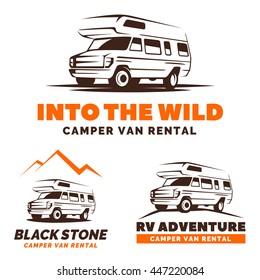 Camper van car logo, emblems and badges isolated on white background. RV and caravan park design elements. Recreational vehicle vector illustration.