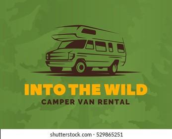 Camper van car logo on green background. RV and caravan park design elements. Recreational vehicle vector illustration.  T-shirt print design.