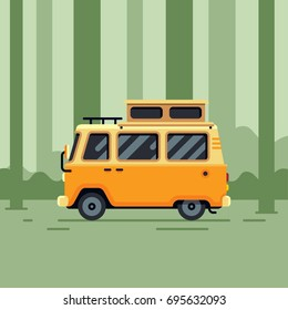 camper van in the forest flat style vector illustration